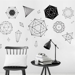 Minimalist Geometric Wall Art Sticker Decal Home S one color one size