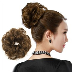 Synthetic Elastic Hair Scrunchie Piece Extensions  Brown One size