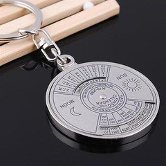 50 Years Perpetual Calendar Keyring Keychain Silve one color one size