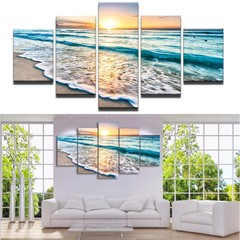 5Pcs Sea Wave Ocean Sunset Painting Unframed Set M Multicolor Normal