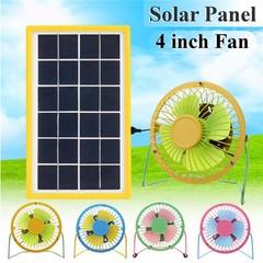 Solar Panel Powered + 4Inch USB Mini Portable Fan  4Inch USB Fan Green net & Pink lea