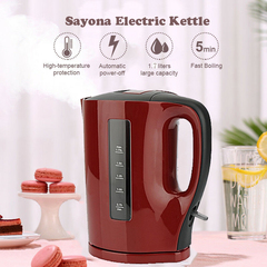 SK-2251 Sayona Electric Kettle 1.7 Litres Maroon