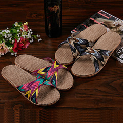 Linen slippers men and women summer couple indoor home home non-slip sandals cross section Purple flower color 250(37-38)