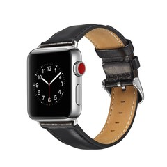 for Apple Watch Series 4 44mm 40mm Leather Strap f Black Normal