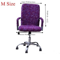 Elastic Spandex Office Chair Cover Slipcover S/M/L Purple Normal