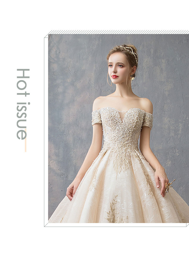 f0a326a7a23c1 Wedding dress Europe and America hot word shoulder bride long tail ...