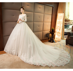 Wedding dress retro French Hepburn style long sleeve hair super fairy princess s white