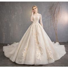 thin bride married the main yarn autumn and winter Hepburn retro long tail dress female s white