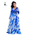 European and American fashion women's print dresses and dresses blue 2xl