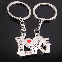 1 Pair Fashion I Love You Forever Heart Couple Key one color one size