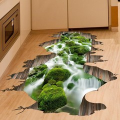 3D Stream View Floor Wall Sticker Removable Waterp one color 1pcs