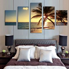 5 Pcs Unframed Seascape Painting Wall Art Pictures one color one size