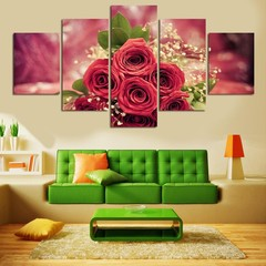 5 Pcs Unframed Rose Babysbreath Painting Wall Art  one color one size
