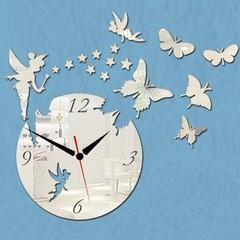 DIY 3D Acrylic Wall Clock Fairy Butterfly Stars Ho Golden one size