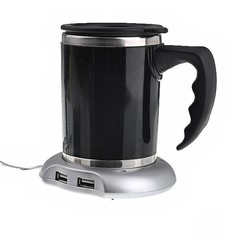 USB Mug Coffee Tea Cup Warmer Heater Pad with 4-Po Silver one size