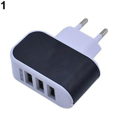 EU Plug 3.1A Triple USB Port Wall Home Travel AC C Black one size