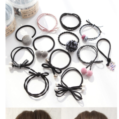 Canned combination of hair tied rubber band. black