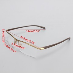 Men Half Rimless Titanium Eyeglass Frame Spectacle Silver Normal