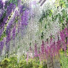 Artificial Wisteria Flowers Vine Silk Flower Weddi Purple one size