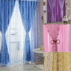 1 Pc Voile Curtain Bedroom Window Door Divider She Blue one size
