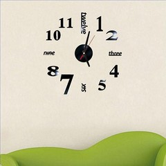 Fashion DIY Analog Wall Clock Sticker Art Design O Red one size