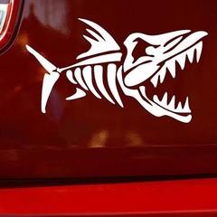 Car Stylish Fish Fishbone Car Sticker Motorcycle D Black one size