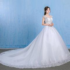 Strap Ball Gown Plus Train wedding dress s white