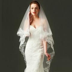 3 Meter White  Wedding Veils Long Lace Edge Bridal Veil