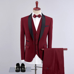 3 Pcs Men Business Suit Sets Wedding Slim Fit Vest Blazers Jacket Pants Trousers Male Wedding Dress Wine Red S