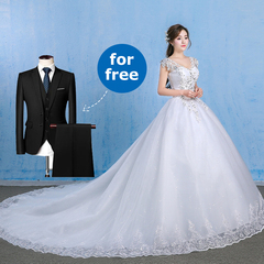 *Buy Wedding Dress, Men's Suits for Free* Lady Strap Ball Gown Wedding Dress Men Wedding Suit Set 7XL(Bust:124cm,Waist:112cm) white
