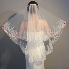 90cm Two Layers Ivory Lace Appliques Short White Wedding Bridal Veils Wedding Accessories With Comb
