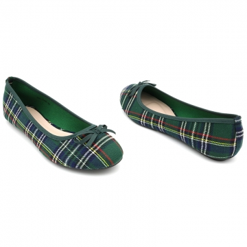 Trendy Scottish Tartan Ballerinas by Bata GREEN-551-7006 3