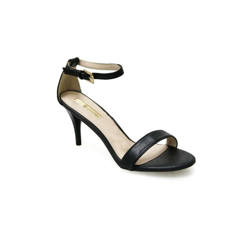 MARIE CLAIRE LADIES BLACK STRAP HEEL SHOE- 761-6184 black 40 ... c2bb3052eb