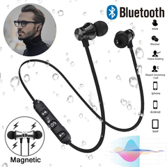 Magnetic Earphones Bluetooth Super Bass Subwoofer Earbuds Wireless Headphones MIC for Sports Music Black