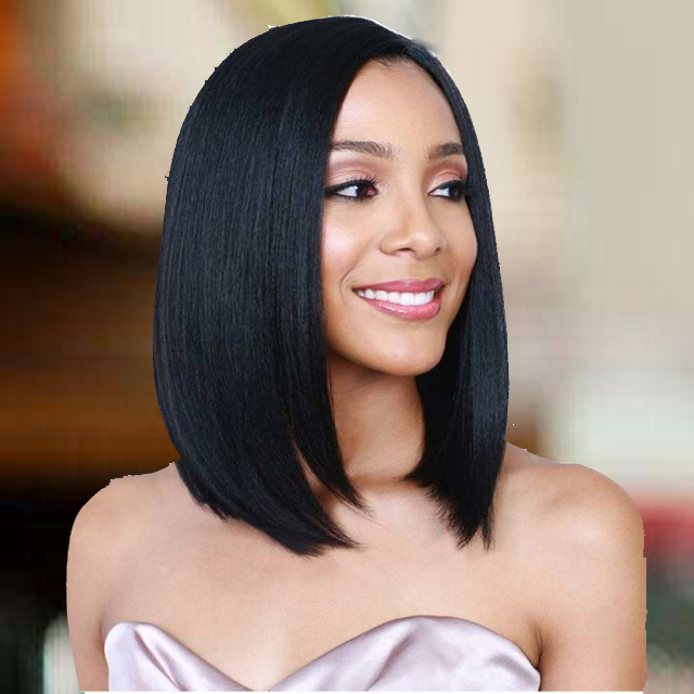 Short Straight Hair Heat Resistant Fiber Synthetic Black Cosplay Bob Wig Bangs Wigs for Black Women black one size