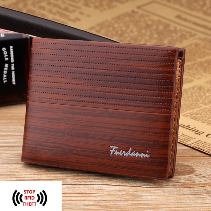 Men's Fashion Short Pu Leather Bifold Slim Wallet Luxury RFID Blocking Multifunctional Business Gift coffee one size