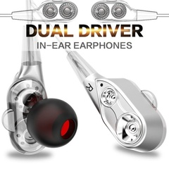 Sport In-Ear Earphone Bass Dual Drive Stereo Subwoofer Head With Microphone Earbud For Mobile Phone gold