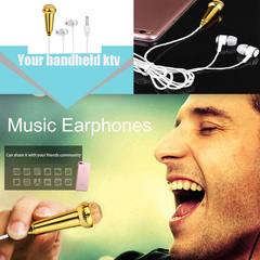 Mini Karaoke Condenser Microphone With In-Ear Stereo Subwoofer Headset  Earphone For Mobile Phone gold