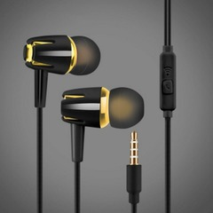 In-Ear  Earphone Headphone Stereo Subwoofer Bass Wired Volume Control with Microphone For Phone black
