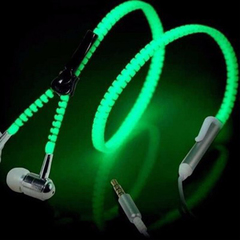 Earphone Luminous Light Metal Zipper Headphone Glow In The Dark For Mobile Phones with Microphone blue