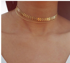 Women Fashion 2 Layers Arrow Design Pendant Necklace Choker Necklace Jewelry for Women gold one size