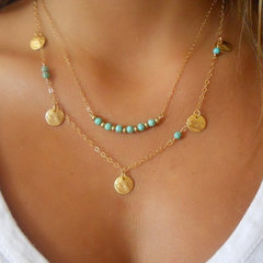 Fashion Choker Necklace Turquoise Multilayer Sequins Pendants Jewelry with 18