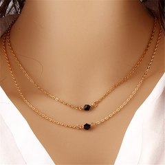 Women Fashion Necklace Double Choker Chain Golden Multilayer Black Beads Pendants Jewellery gold one size