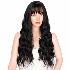 Long Wavy Wig Middle Part wz Bang Curly Wig Loose Body Wave Wig Heat Resistant Fiber Full Women Wig black one size