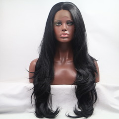 Long Wavy Hair Free Part Heat Resistant Fiber Synthetic Lace Front Wig for Women black one size