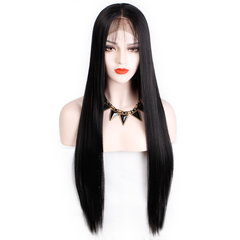 Long Striaght Synthetic Wig Silky Lace Front Wig Fluffy Smooth Tied Wig Heat Resistant Fiber Hair black one size