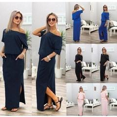 Women Boho Short Sleeve Side Slit Loose Evening Dress Party Long Beach Dress Maxi Dress S Dark Blue
