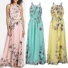 Summer Women's Fashion Boho Long Maxi Dress Sleeveless Lady Beach Dresses Sundress Party Dress s pink