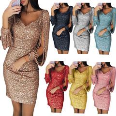 Stylish Bodycon Dress Gold Sequins summer Dresses girl evening dinner dressess party long dressess s black