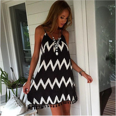 Plus size women dresses Sexy Summer Casual Sleeveless Evening Party dinner dress Black White Stripes s as picture